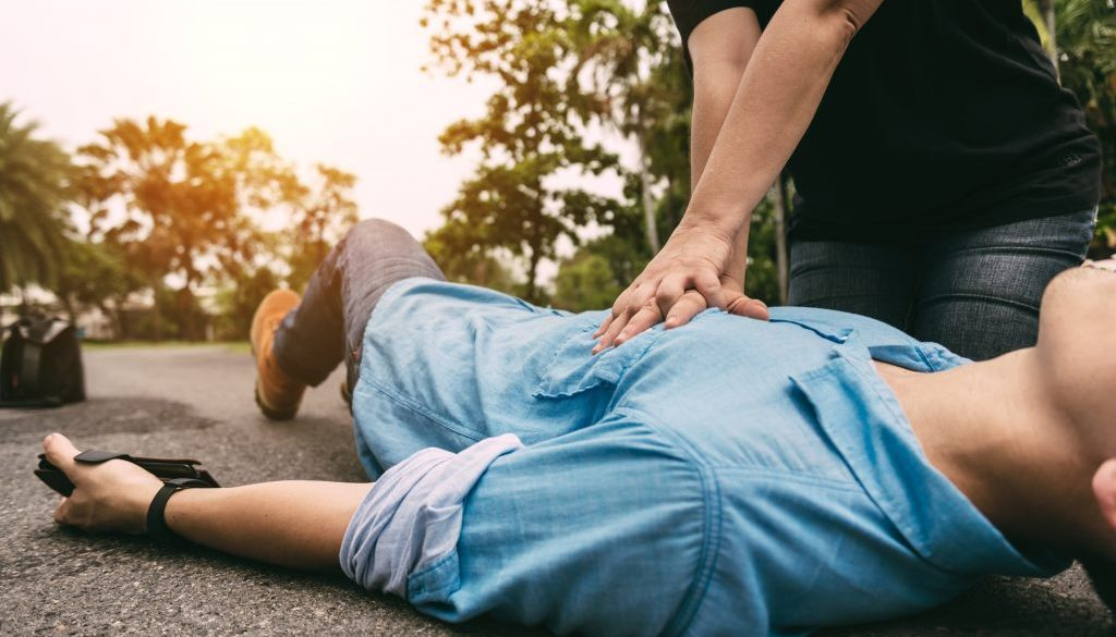 Emergency CPR on a Man who has Heart Attack , One Part of the Process Resuscitation (First Aid)