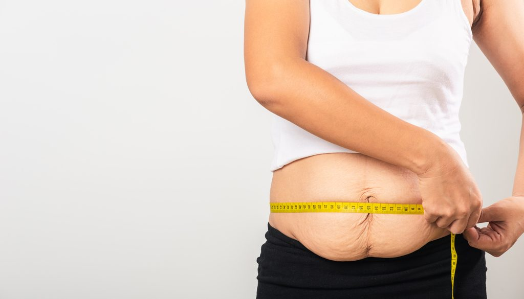 weight loss measuring stomach